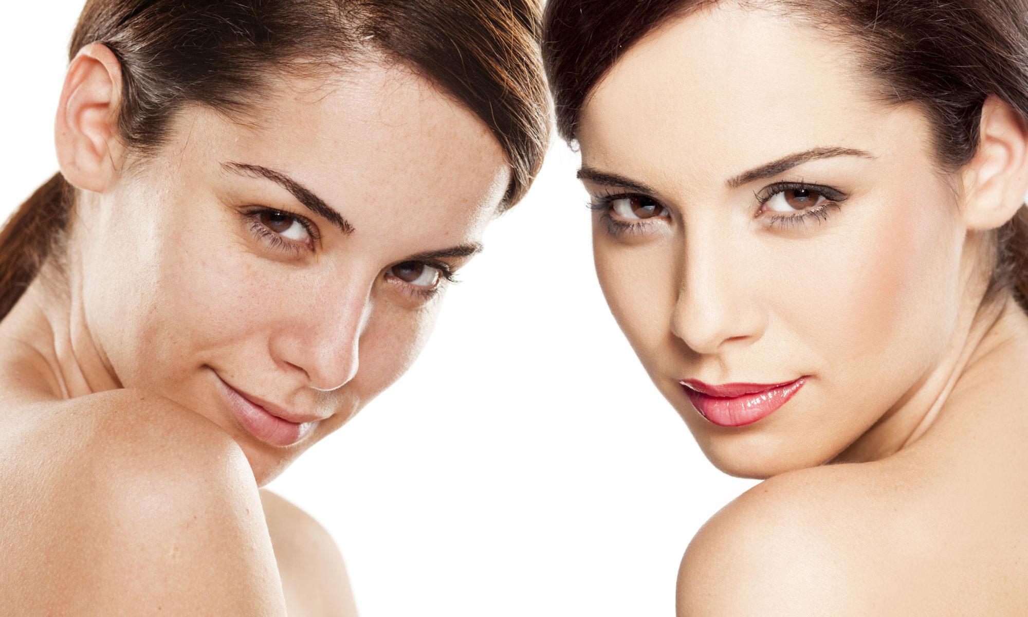 Zwei Frauen: links (vorher) ohne Permanent Make-Up, rechts (nacher) mit Permanent Make-Up